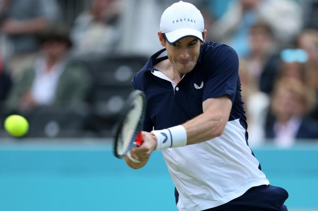 Andy Murray hits a backhand at Queen's Club