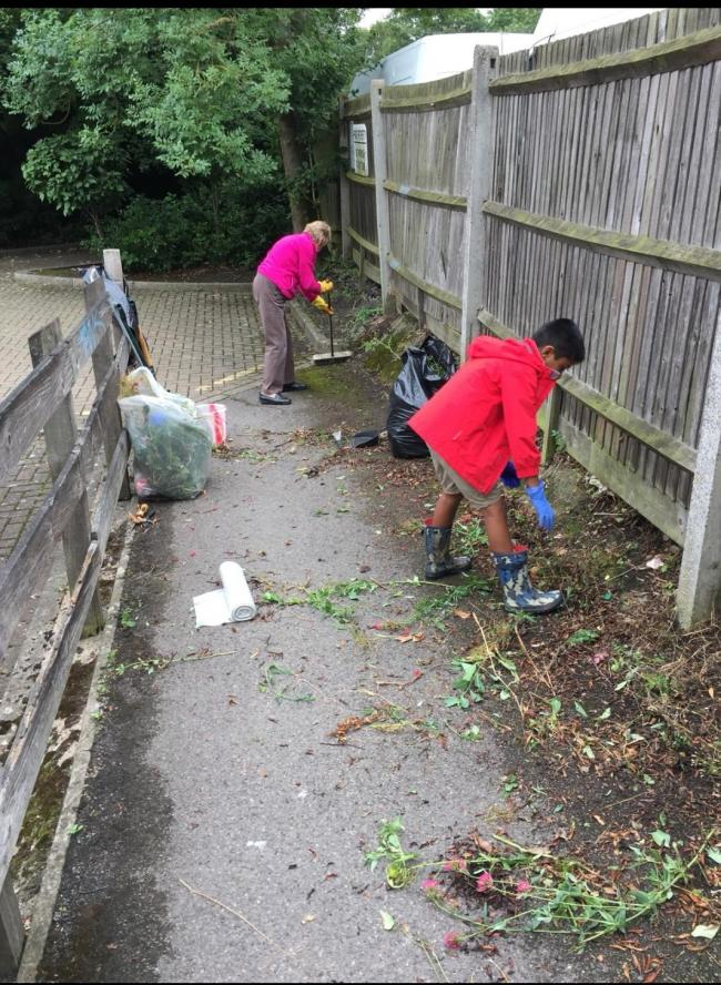 Volunteers cleaning up their local area