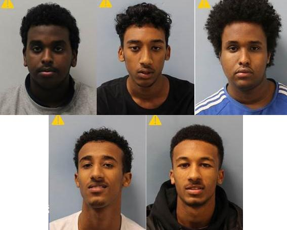 The five have been jailed for a total of 25 years. Credit: Met Police