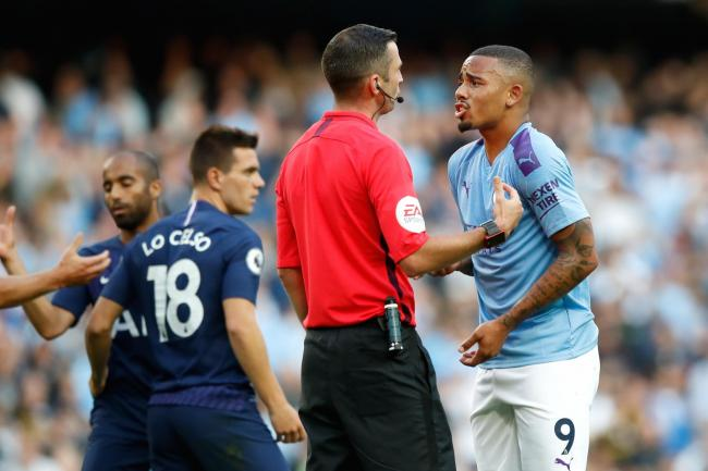 Gabriel Jesus appeals to referee Michael Oliver after his goal was ruled out by VAR