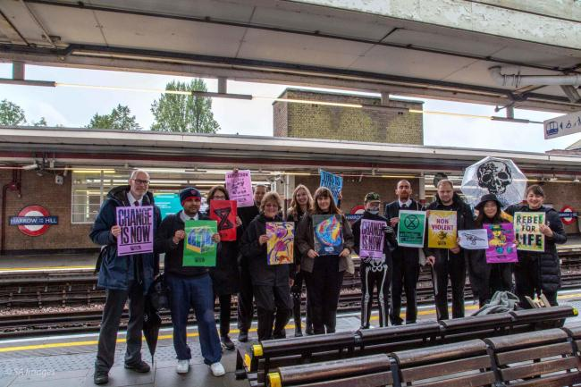 Extincton Rebellion members at Harrow-on-the-Hill Station