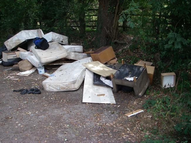 Dumped: the hotel rubbish abandoned at Iver Heath
