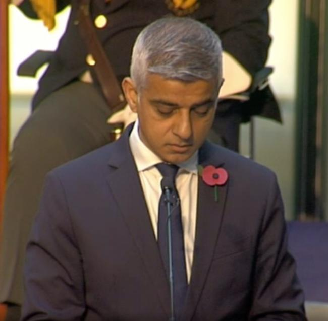 Sadiq Khan speaks at City Hall Remembrance service (Photo: BowTie Television)