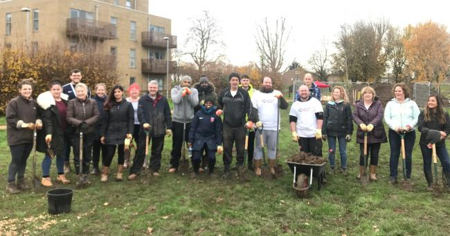 Fruit of their labours: volunteers at work on the new orchard