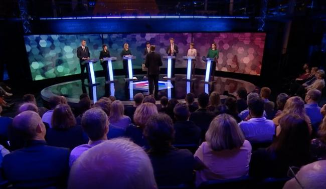 BBC journalist Nick Robinson hosted the debate between the seven parties in Cardiff