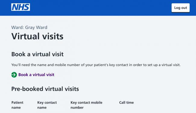 Booking in: a virtual visit to a loved one in hospital