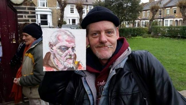 Caught on canvas: homeless Bernie with his portrait