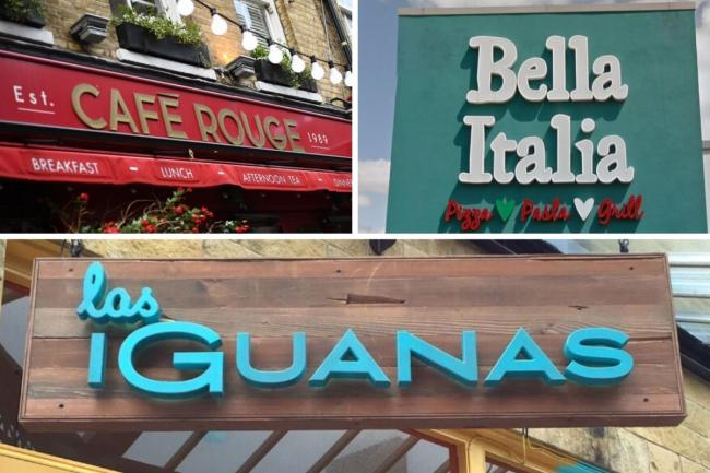 These are all the Bella Italia, Cafe Rouge and Las Iguanas branches set to close