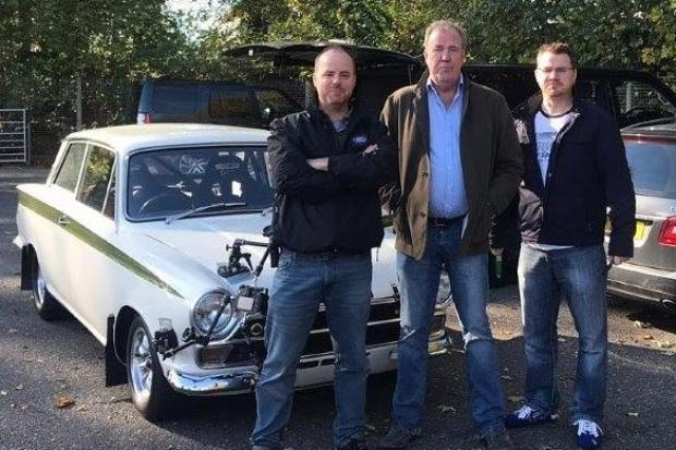 Iain (right) and Gareth with Jeremy Clarkson during Grand Tour filming