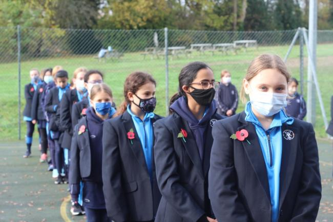 Silent homage: girls from St Augustine's