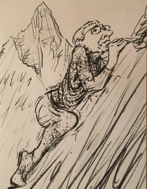 Ealing Times: 'MOUNTAINEER' BOB: Cummins' friend drew a sketch of him taking on Horsenden Hill