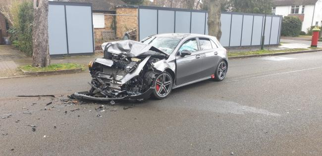 One car trashed after a crash