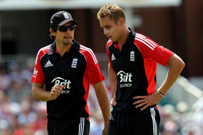 Alastair Cook (left) and Stuart Broad in action for England
