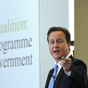 David Cameron during the launch of the Coalition Agreement document