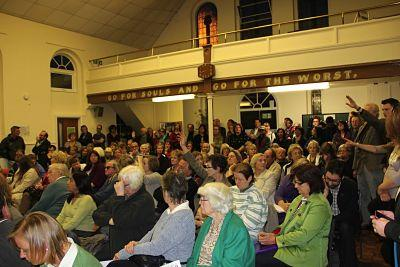 More than 120 people attended the meeting in Hanwell on Tuesday. Photo by Sean Ashcroft.