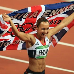 Great Britain's Jessica Ennis celebrates winning the heptathlon, Team GB's 12th Olympic gold
