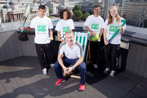 Star struck: Following his double gold medal win at London 2012, Sir Chris Hoy joins pupils from Brentside High School to launch Lloyds TSB National School Sport Week 2013. Mirzenka is on the right