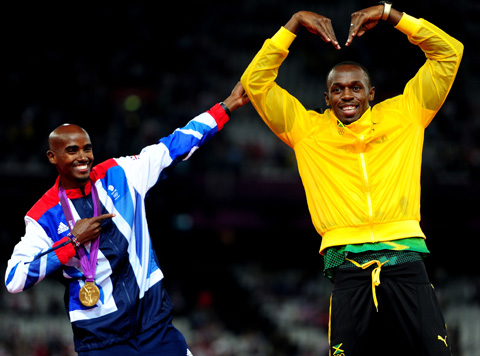 Farah and Bolt imitate each other's victory poses