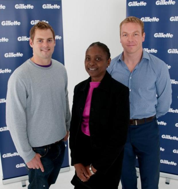 Olympic boost: Anne-Marie Waugh flanked by Chris Hoy and Laim Tancock