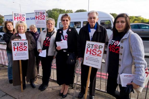 Placards at the ready: a sight for drivers at Hanger Lane today