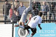 Jump to it: Richard Lee leaps to save against Boreham Wood on Saturday