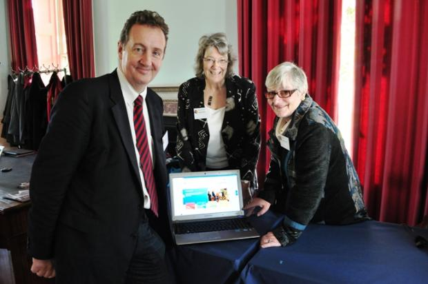 Launch day: Ealing Council leader Julian Bell with Angela Bell, chair of Ealing Community and Voluntary Service and Carmel Cahill, deputy chief executive of Ealing CVS