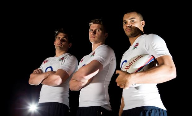 England trio (from left): Toby Flood, Owen Farrell and Jonathan Joseph