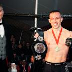 Ealing Times: Richard Buskin after winning the lightweight UFW champion belt
