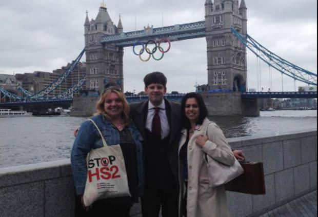 Independent: Alex Nieora with fellow HS2 campaigners at City Hall