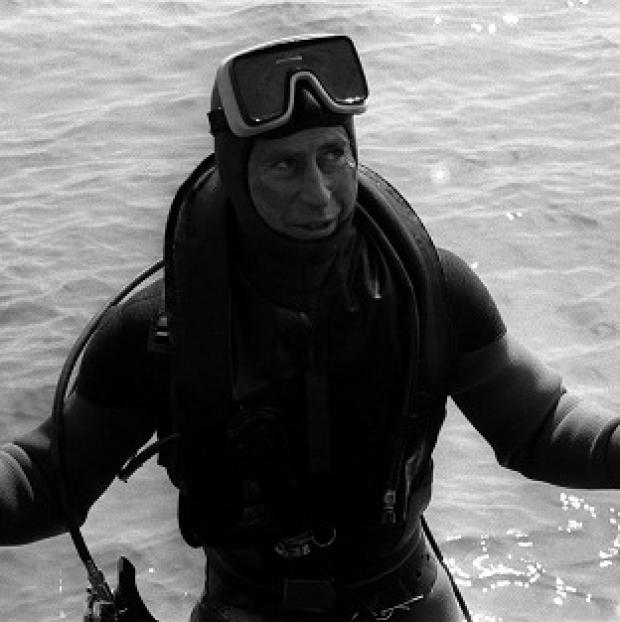 Ealing Times: The Prince of Wales surfaces after a dive to visit the wreck of the Mary Rose.
