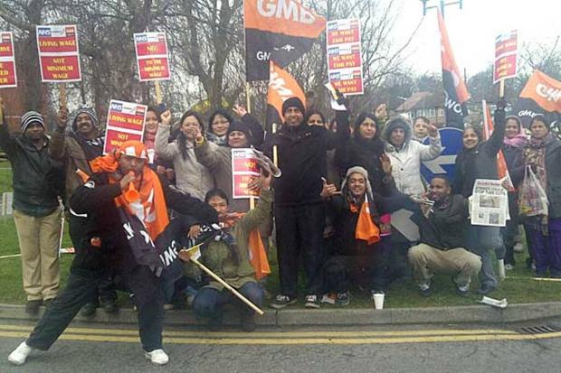 Picket line: Striking Medirest staff outside Ealing Hospital in an earlier action