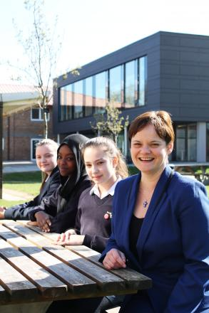 New leader: Rachel Kruger with pupils (from left) Oliwia Lis, Lina Yagoub and Georgia Wallhead