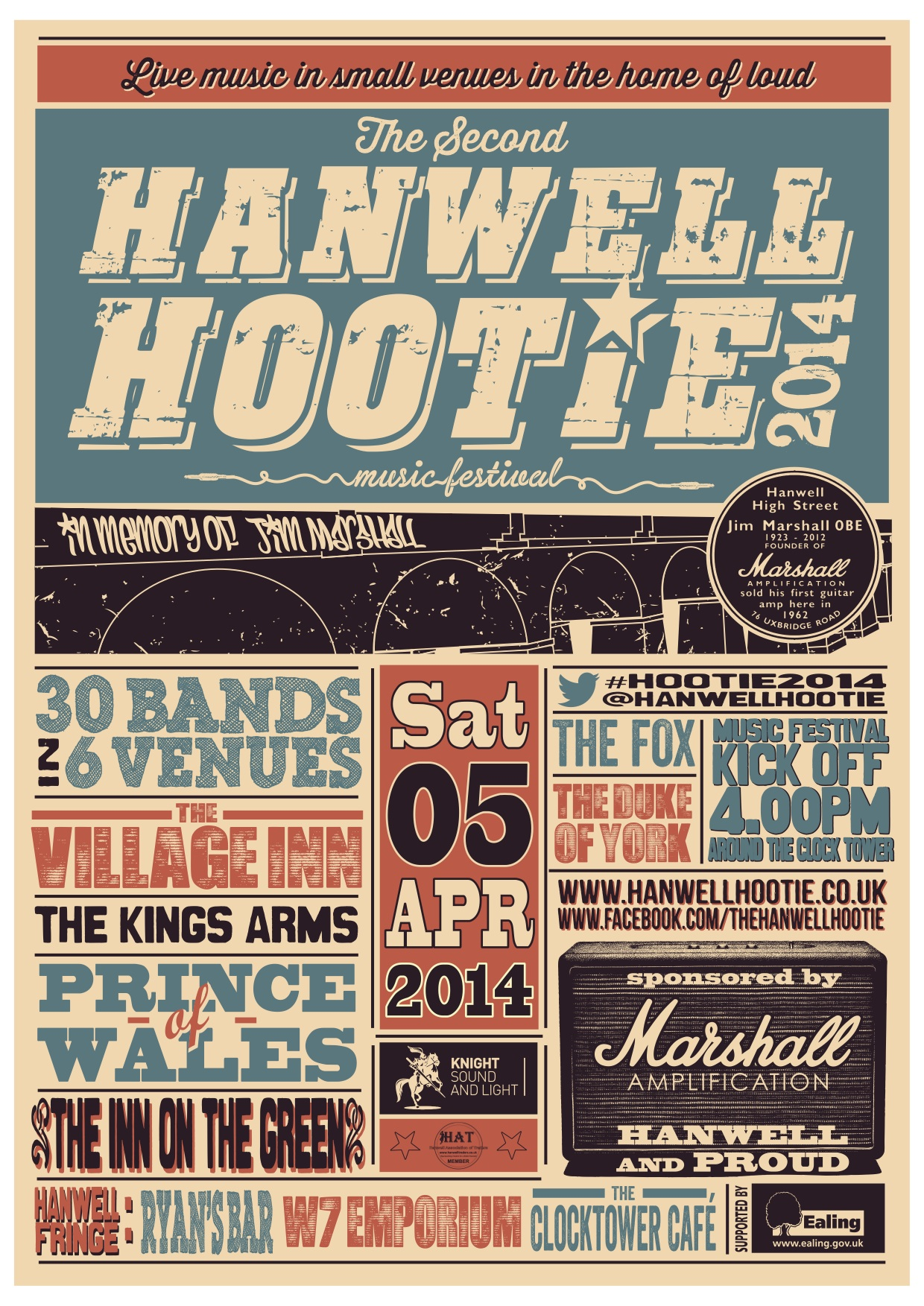 Hanwell Hootie back at six venues