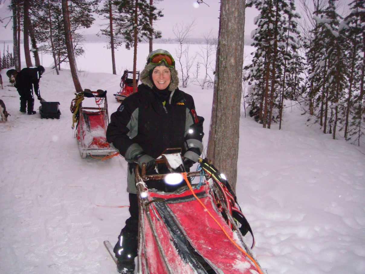 Snow challenge: Tina and her sled in Finland