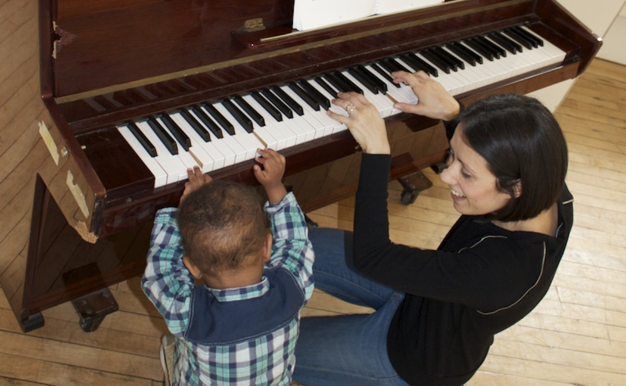 Music to her ears: Sofia with a young listener