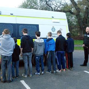 Ealing Times: Teenagers who were rounded up by police officers using golf buggies at Beamish Park Golf Club, near Stanley, County Durham (Durham Constabulary/PA Wire)