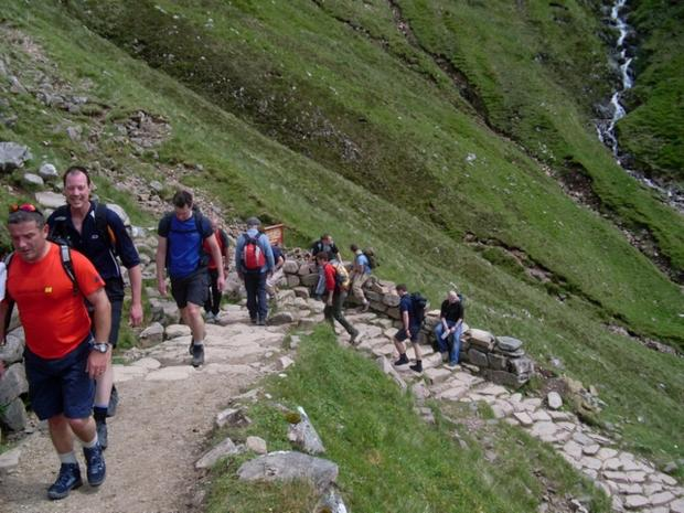 Peak condition: busy section of Ben Nevis climb