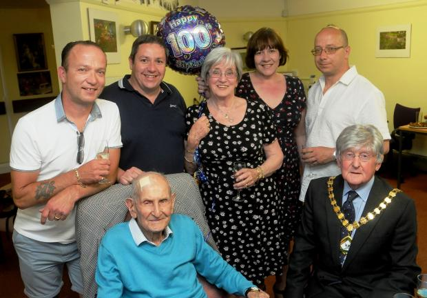 Centenarian: Ollie with family and the mayor