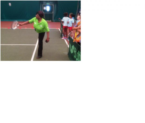 Mean backhand: Asda Community Life Champion Donna Turner in action