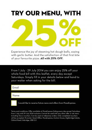 Your money-off voucher for Ealing's new PizzaExpress - just cut it out and take it along