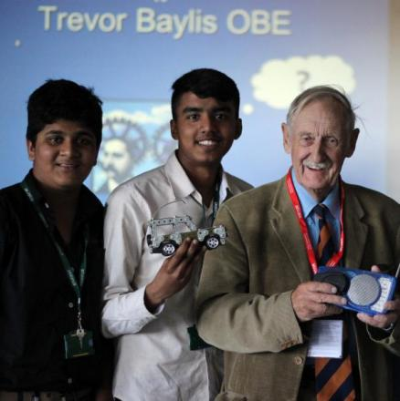 Inventive: Traveor Baylis with students Neil Vaz and Jarvis Ghouri
