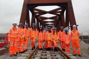 On site: the young visitors are safely attired for their Crossrail outing