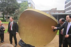 'Coin that fell from sky' statue unveiled to mark re-launch of Walpole Park, Ealing