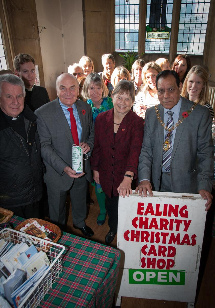 Grand opening: Ealing Charity Christmas Card shop is opened by Stephen Pound MP for Ealing North, Angie Bray MP for Ealing Central and Acton and and the Mayor of Ealing, Councillor Tej Ram Bagha