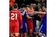 Diego Costa, pictured clashing with Steven Gerrard, was never far away from the action in an ill-tempered clash