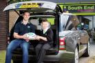 Ball carrier: George North with Rhys Hamber, one of the Rugby World Cup mascots