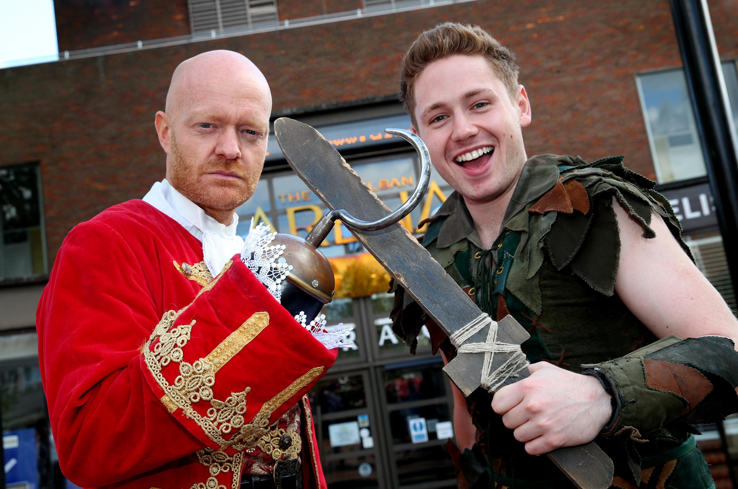 David Ribi who plays Peter Pan with Captain Hook (Jake Wood)