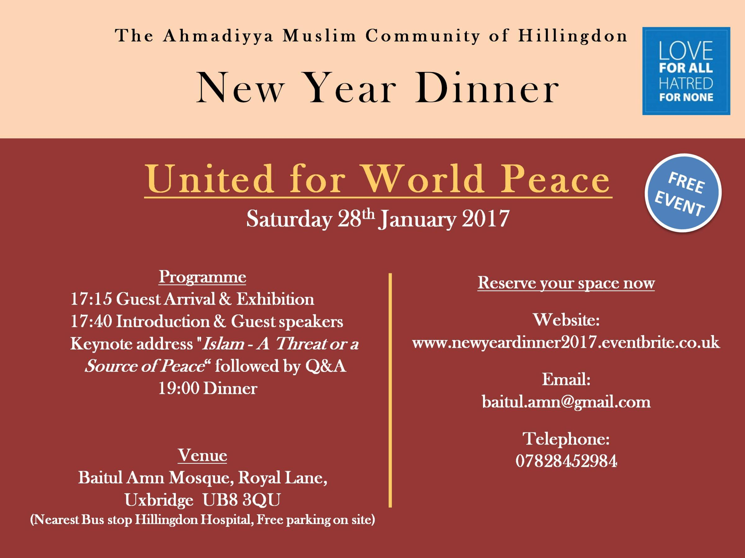 New Year Dinner 2017 - United For World Peace