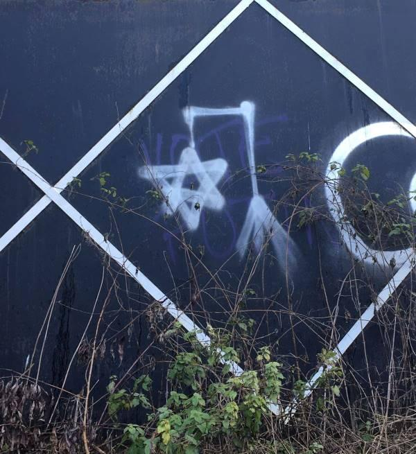 The graffiti spotted by Grand Union Canal on Sunday
