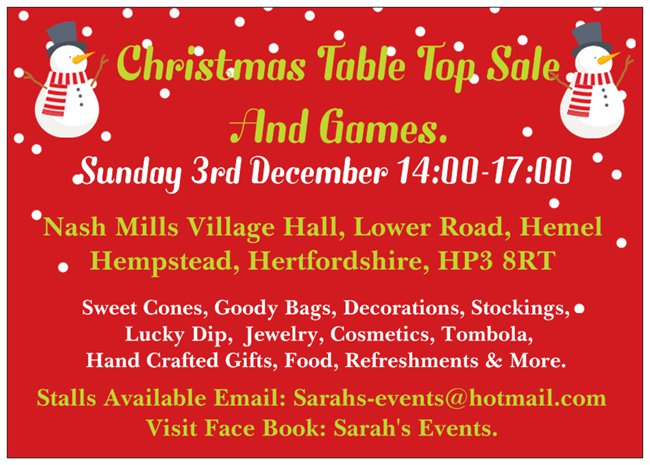 Christmas Table Top Sale and Games